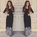 2016 New Fashion Europe Style Spring Summer Black  Lace Spliced Long sleeve Ladies Dresses Slim Waist Big swing Long Maxi Dress