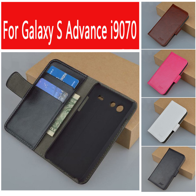JR PU Leather Pouch Flip Cover For Samsung Galaxy S Advance i9070 GT-i9070 Case Book style Phone Bag Cases 5 Colors