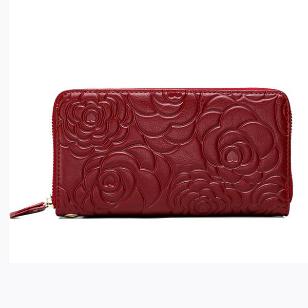 font b Women b font Geniune Leather Peony Flower Design Long font b Wallet b