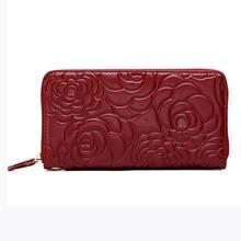 Women Geniune Leather Peony Flower Design Long Wallet Elegant Laidies Purse Card Holder Coin Bags 2016