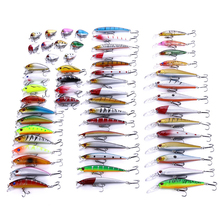 56pcs/set Fishing Lures Set Mixed Fishing ABS Set Wobblers Minnow Crankbait Fishing Tackle Set056