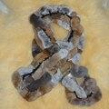 Inverno mulheres cachecol de pele Real Lady Genuine Rex Rabbit Fur Lenço Cachecóis Wraps Mulheres Acessório Do vestuário Feminino malha cachecol