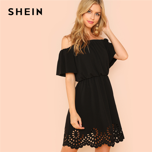 6f6aa76017 SHEIN Black Workwear Elegant Highstreet Minimalist Off Shoulder Cutout  Scallop Office Lady Dress Summer Women Casual Dresses