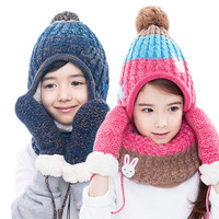 3Pcs Kids Winter Warm Hat Scarf Gloves Lined Knitted Set Cartoon Rabbit Style Knitted Setfor Girls