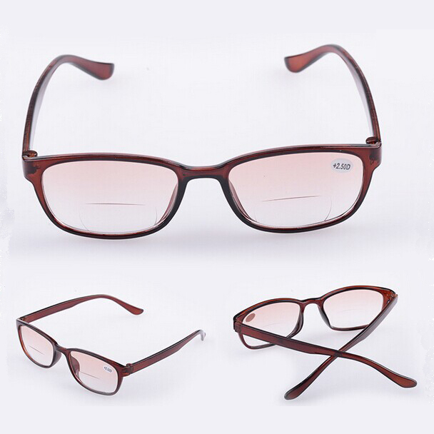cheap reading glasses 50ji  hot sale cheap promotion plastic bifocal reading glasses unisex black brown  multi-function presbyopic glasses