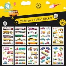 2019 Fashion The Little Bus Waterproof Temporary Tattoo Kids Cartoon Car Stickers Children Fake Flash Tatoo