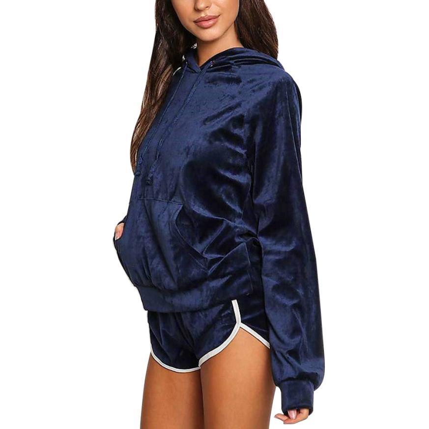 snowshine YLI Women Velvet 2PCS Long Sleeve Hoodies Sweatshirt Shorts Sets Suit