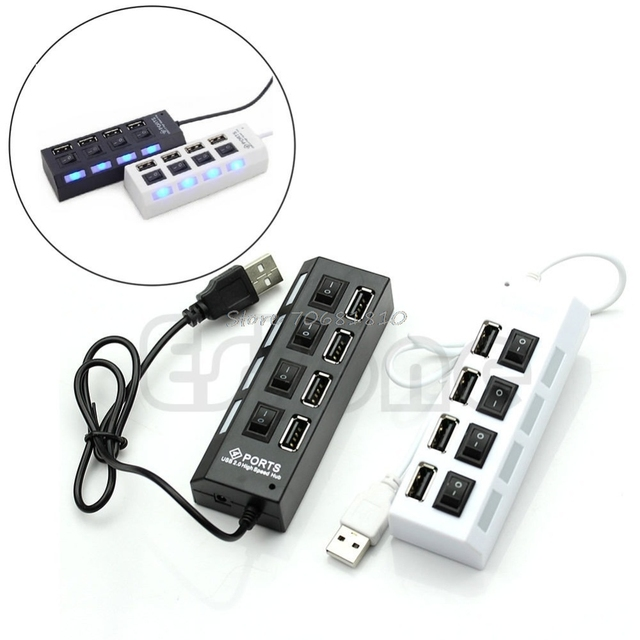External Multi Hub Expansion 4 Ports USB 2.0 On/Off Switch LED 480 Mbps Splitter Z09 Drop ship