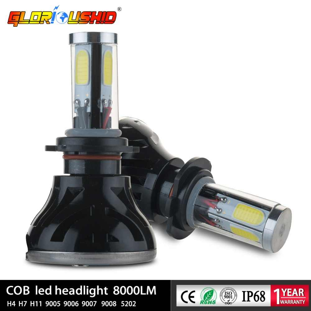 LED H4 H7 Car auto Headlight 80W 8000LM 4 COB for Automotive Headlight Fog lamp H11 H13 9005 9006 9007 9008 LED bulb 6000K 12V