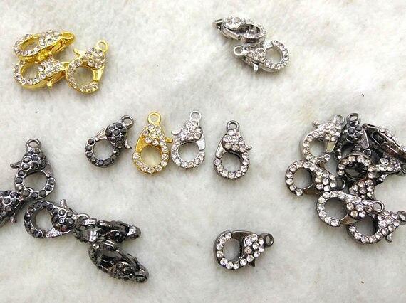 Gros 50 pcs fermoir pavé Micro cristal pavé diamant fermoirs bijoux fermoir Gunmetal argent Rose or hématite bijoux fermoirs 12-