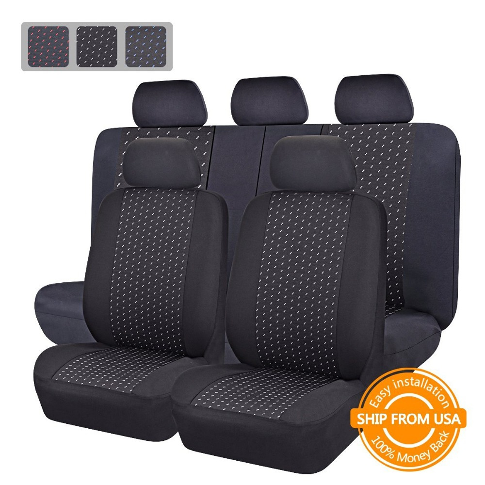 buy full set jacquard cloth 75g black mesh complex universal auto seat cover. Black Bedroom Furniture Sets. Home Design Ideas