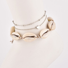 Womens deep sea shell hand-woven multi-layer love anklet fashion personality popular new