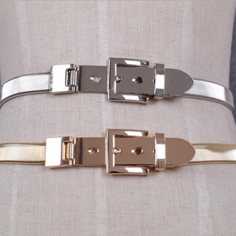 Women Gold black Silver Full Metal Elastic Chain belt Metal Pin Clasp Buckle Waistband 2018 Fashion Belts