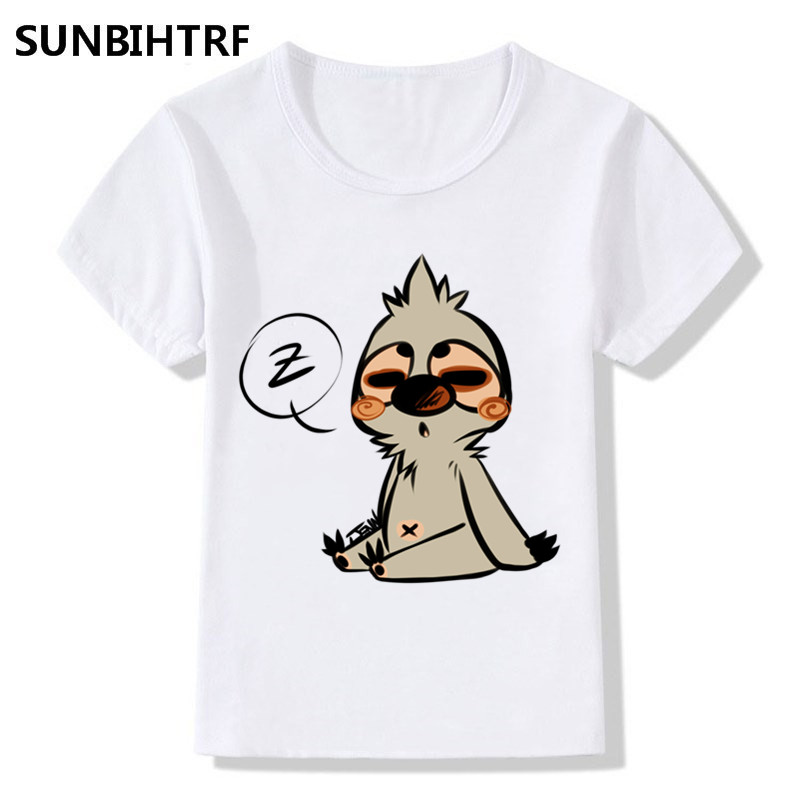 Big Boys&girls Cartoon A Sleepy Sloth Print Funny T-shirt Children Summer T Shirt Kids Short Sleeve Tops Casual Baby Clothes With The Best Service