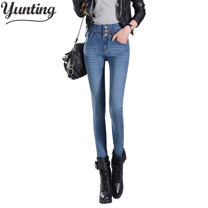 Women's  Pants 2017 Pencil Jeans Ladies Trousers High Waist Buttons Full Length Zipper Stretch Skinny Women Pant tangnest skinny candy pencil jeans pants women 2017 ladies trousers mid waist full length zipper stretch pant for femme wkp004