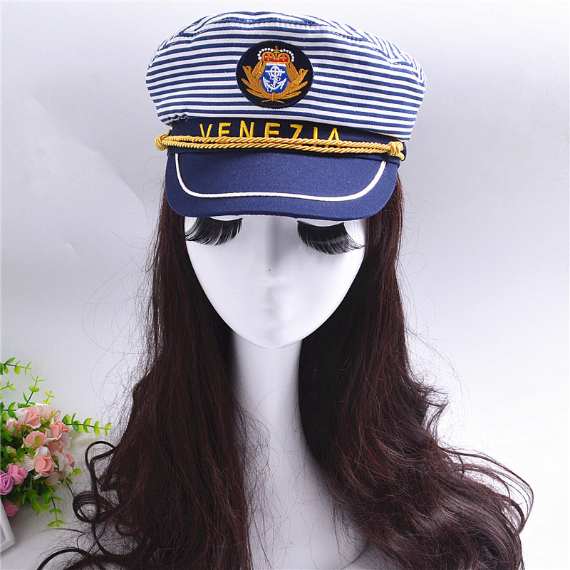 Cot Striped Navy Cap for Adult Children Fashion Military Captain Hats Caps  Women Men Boys Girls Sailor Hats Army Naval Caps