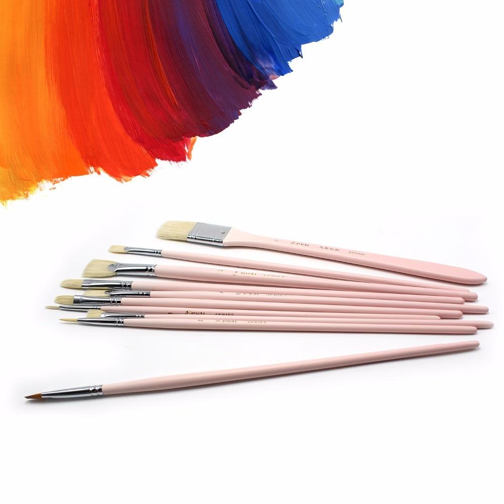 Eval 10pcs Long Handle Artist Nylon Bristle Hair Pink Paint Brush Set For Acrylic Watercolor Painting Drawing Art Tool Supplies