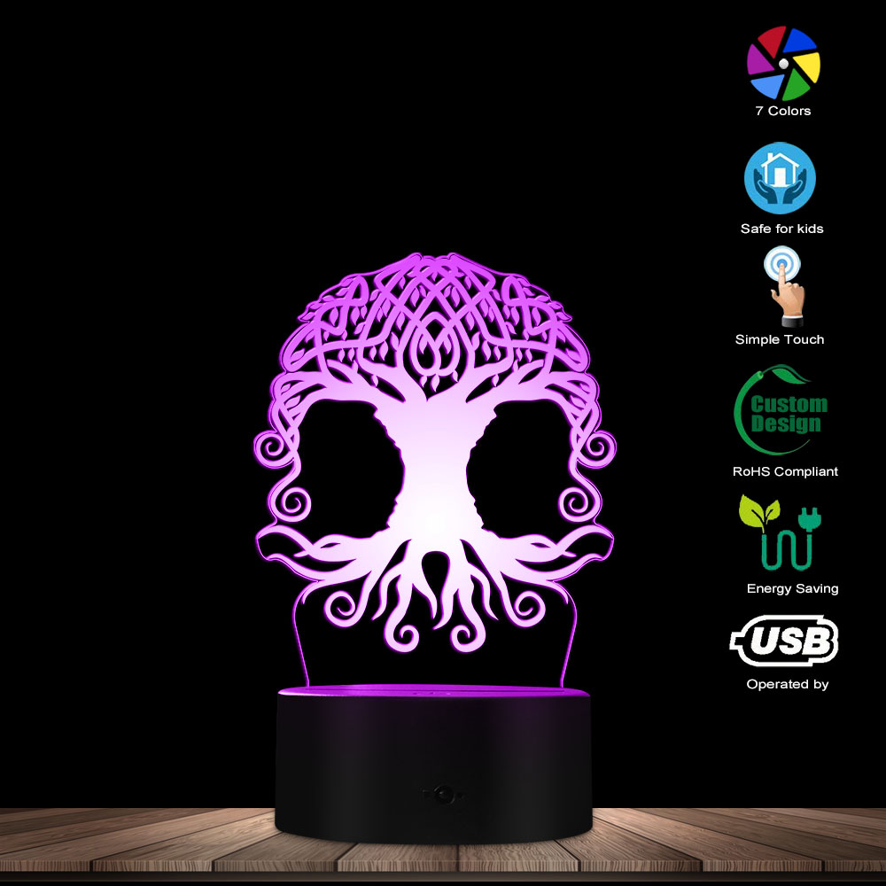 Celtic Tree Of Life LED Night Light 3D Optical Illusion Night Lamp Forest Nature Spirituality Home D Modern Novelty Table Lamp