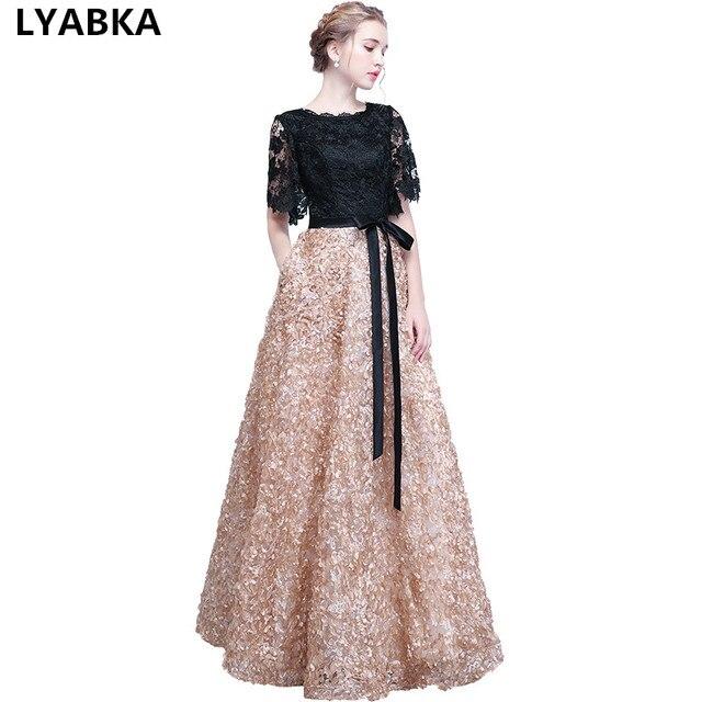 4d442dccb 2019 nuevo De moda vestido De noche negro con Color caqui De La  piso-longitud