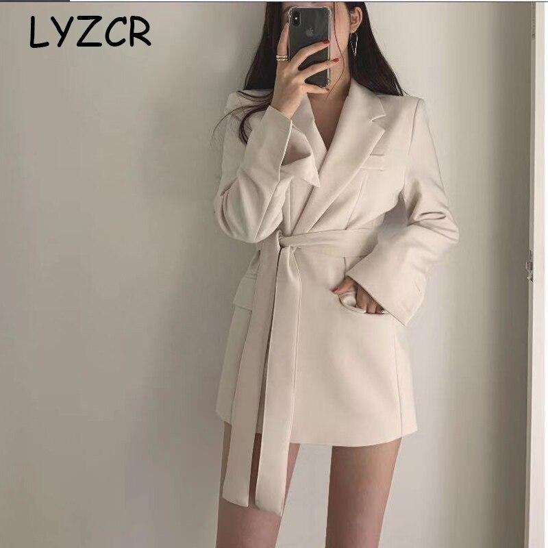LYZCR белый блейзер женский пиджак 2019 с длинным рукавом офисный Женский блейзер и куртки элегантный женский Блейзер Femme Mujer