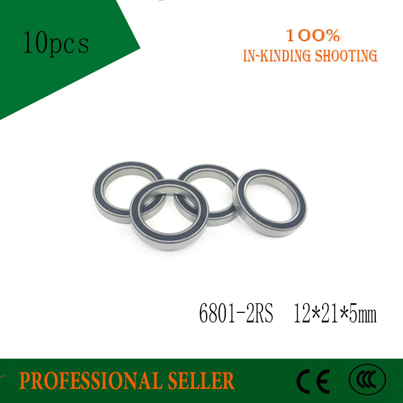 Bearings 6801 2RS RS Rubber Sealed Deep Groove Ball Bearing 12x21x5mm