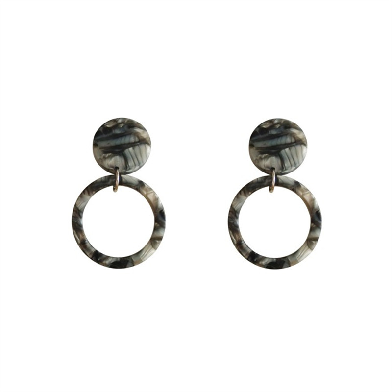 Geometric circular fashion stud earrings acetate plate acrylic character tide female wholesale