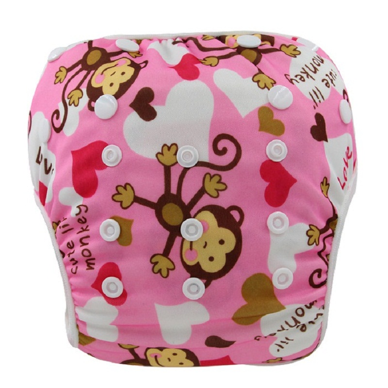 Baby Cloth Diapers Swimwear Animal Pattern Swimsuit Reusable Swim Diaper Cover Waterproof Baby Nappies Training Pants