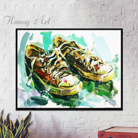 Pure hand painted canvas shoes nostalgic Impressionism modern creative art factory art hanging painting wall decoration painting