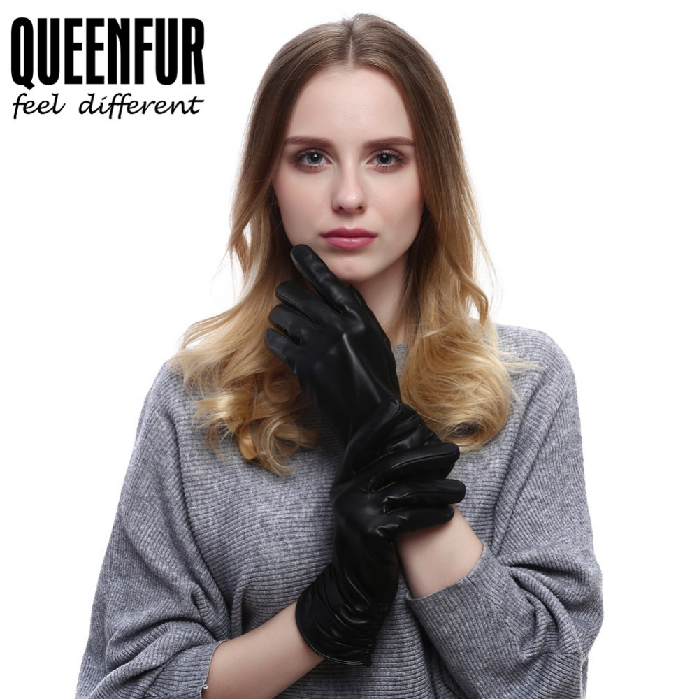 Ladies real leather gloves - Queenfur Women Real Leather Gloves Genuine Sheepskin Leather Gloves Lined Black Leather Gloves New Quality Lady