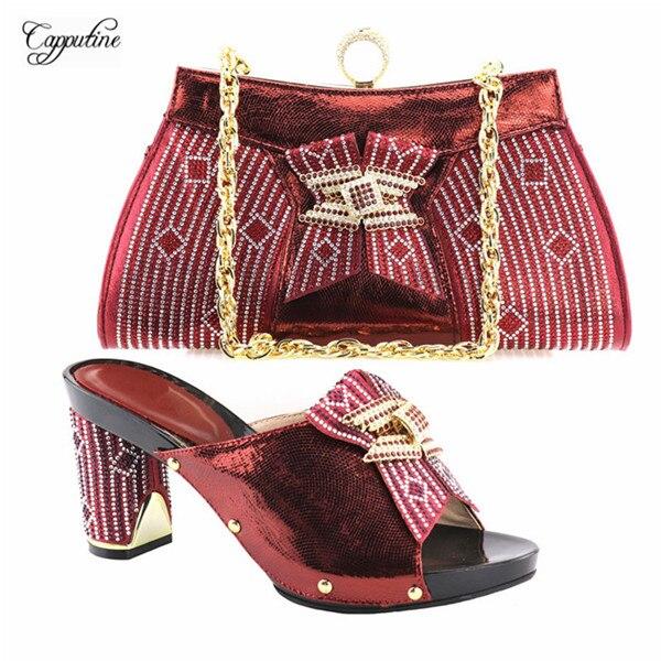 Новое поступление черный высокий каблук туфли-лодочки в африканском стиле и сумка красивые туфли-лодочки с сумочкой для леди YH2018-08, 7 вариан...