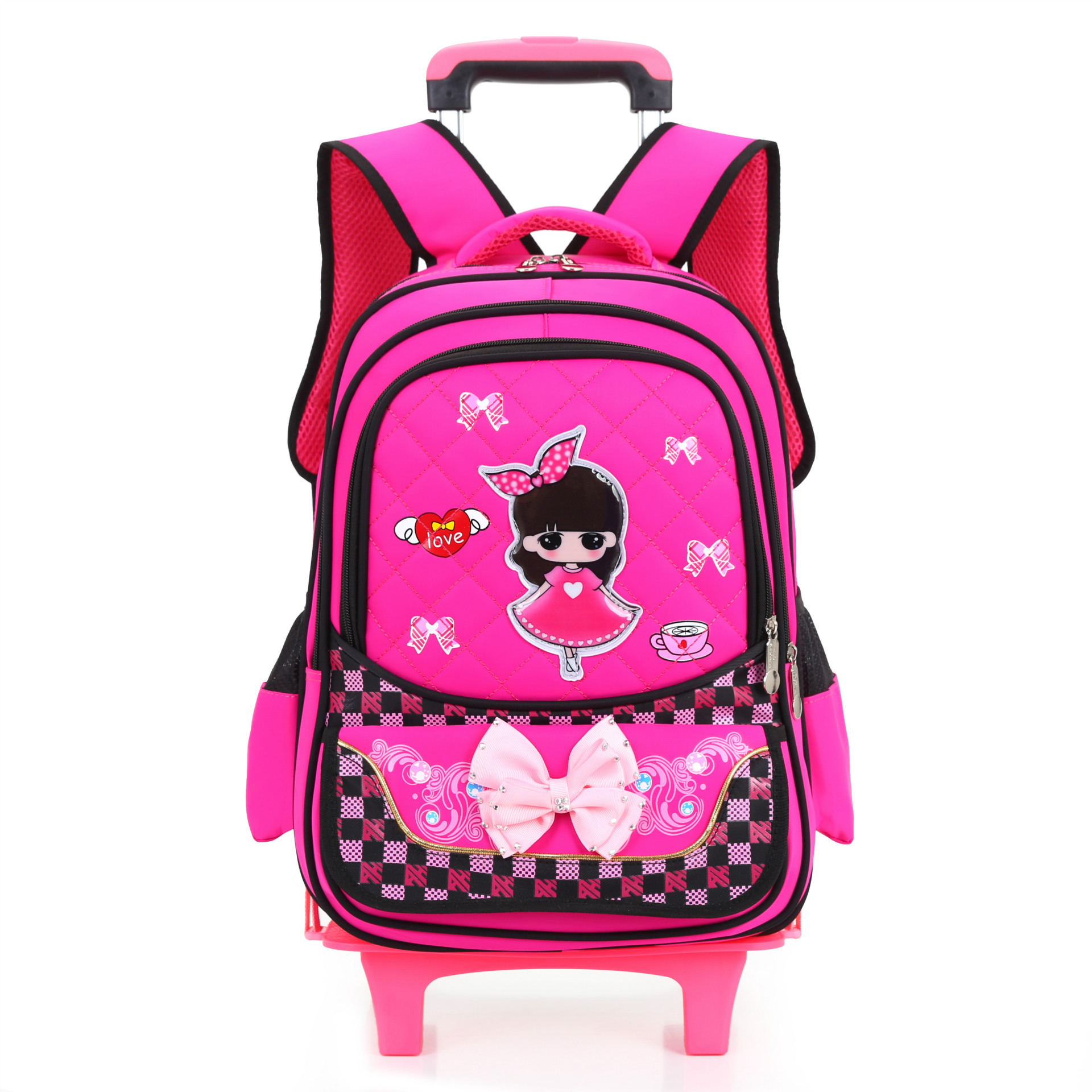 Kids Backpack With Wheel Stair Trolley School Bags kids Children's Backpack Schoolbags kids Wheeled Book Bag For girls Mochilas(China)