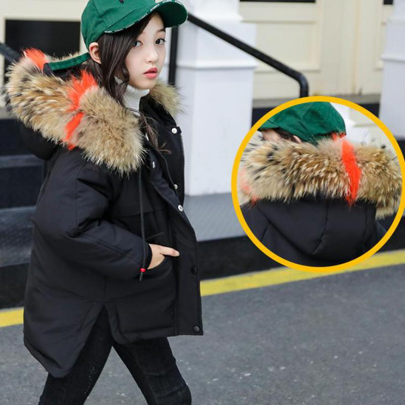 2018 Girls Winter Jacket Coat Baby Children Kids Warm Parka Long Snowsuit Down Cotton Pad Clothes Color Fur Collar Hooded Jacket women winter coat jacket 2017 hooded fur collar plus size warm down cotton coat thicke solid color cotton outerwear parka wa892