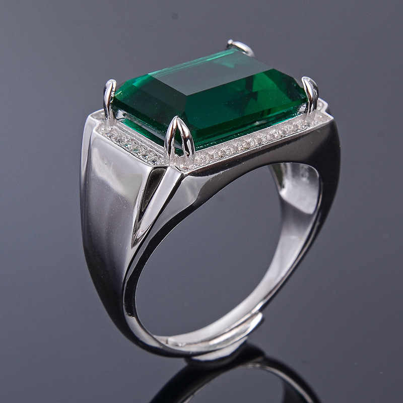 MeiBaPJ 10*14 ธรรมชาติคริสตัลแหวนผู้ชายหรือเปล่าแหวนเงินแท้ 925 สีเขียวหิน Fine เครื่องประดับงานแต่งงาน