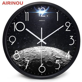 Airinou the Moon Starry Sky and Mars 3 Styles ,Glass&Metal Silent Movement Wall Clock,Children Room Museum Theme Park  Decorate 10