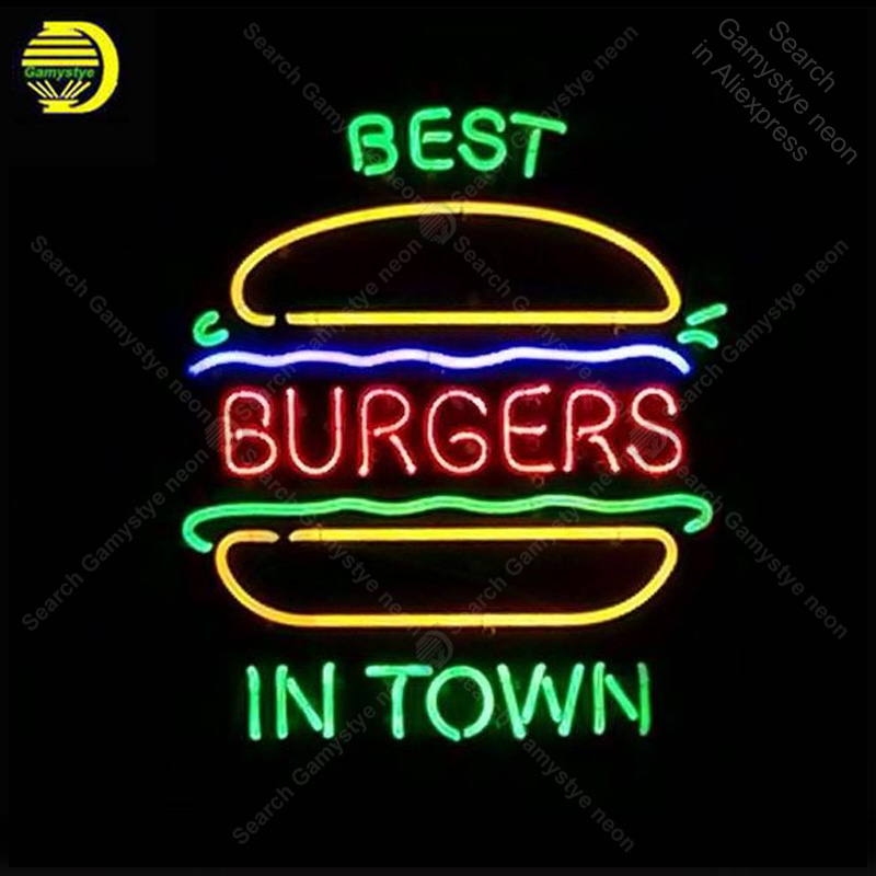 Enseigne au néon pour le meilleur hamburger en ville lampes au néon véritable Tube de verre décorer la salle de la maison publicité néon personnalisé avec panneau