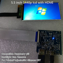 5.5 inch 1440p hdmi screen display 1440*2560 with hdmi to mipi for virtual reality glasses dk2 DIY for 3d printer raspberry pi 3