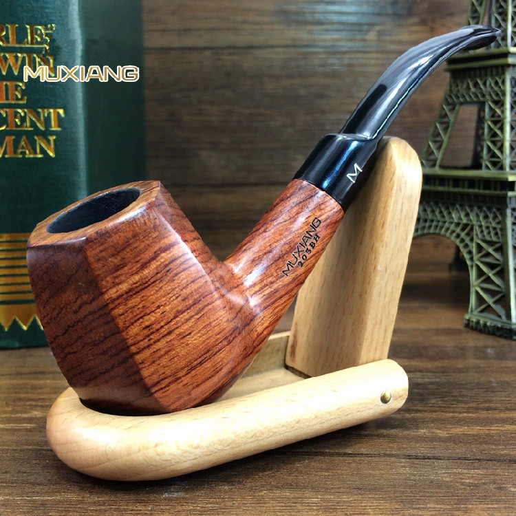 Classic Bent Type Rosewood Activated Carbon Filter Element Acrylic Clgarette Holder Wood Smoking Pipe