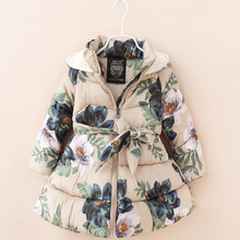 Girl Winter Jackets Fashion Floral Printed Parka Coats Thick Fleece Warm