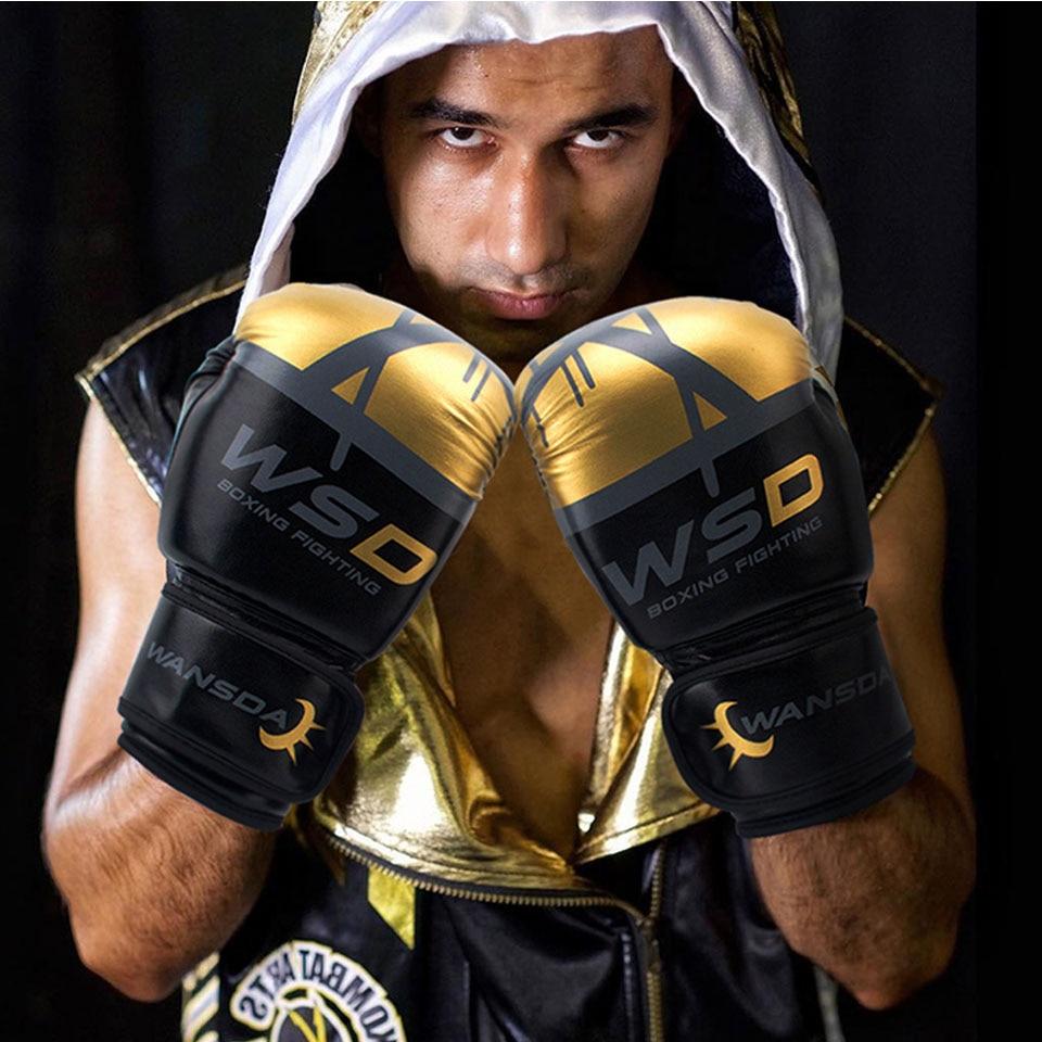 Alta qualidade adultos mulheres/homens luvas de boxe couro mma muay thai boxe de luva luvas sanda equipments8 10 12 6 oz 4
