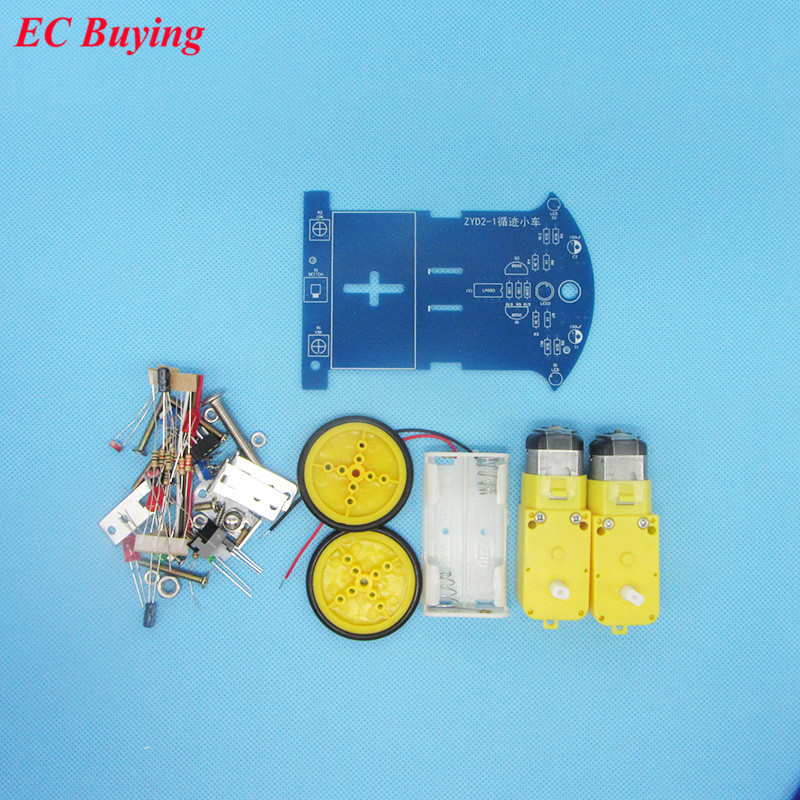 1 set Intelligent Tracing Car Kit Trace Intelligent Track Line Car Fun Electronic Production DIY Kit