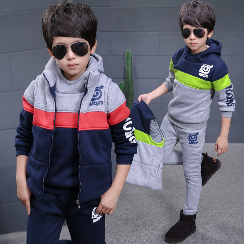 2017 boys sports suit winter new three-piece suit plus velvet thick boy fight color hooded sweater suit children clothing 3-13 Y baby children s clothing boys and girls set sweater autumn winter warm new fashion gold velvet leisure sports two piece a8888