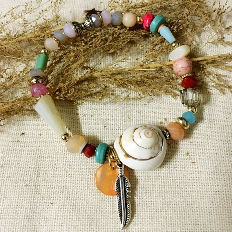 Dongmu Jewllery New Handmade Crystal Bracelet Colorful Stretch Leaves Accessories For Women Natural Stone Shell Christmas Gifts