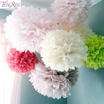 FENGRISE 5pc 20 25 30cm Wedding Decoration Flower Pompom Tissue Paper Pom Poms DIY Artificial Flowers