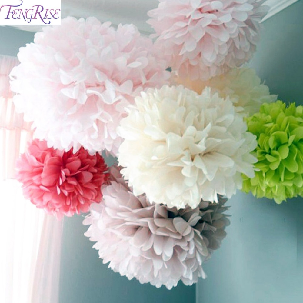 FENGRISE 5pc 20 25 30cm Wedding Decoration Pom Pom Tissue Paper Pompom Artificial Flowers Baby Shower