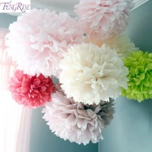 FENGRISE 5pc 20 25 30cm Wedding Decoration Pom Pom Tissue Paper Pompom Artificial Flowers Baby Shower Birthday Party Decorations