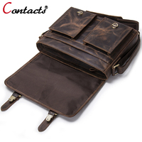 CONTACT'S Men bags Tablets genuine leather men messenger bag men leather handbags male Shoulder bag briefcase vintage bags New