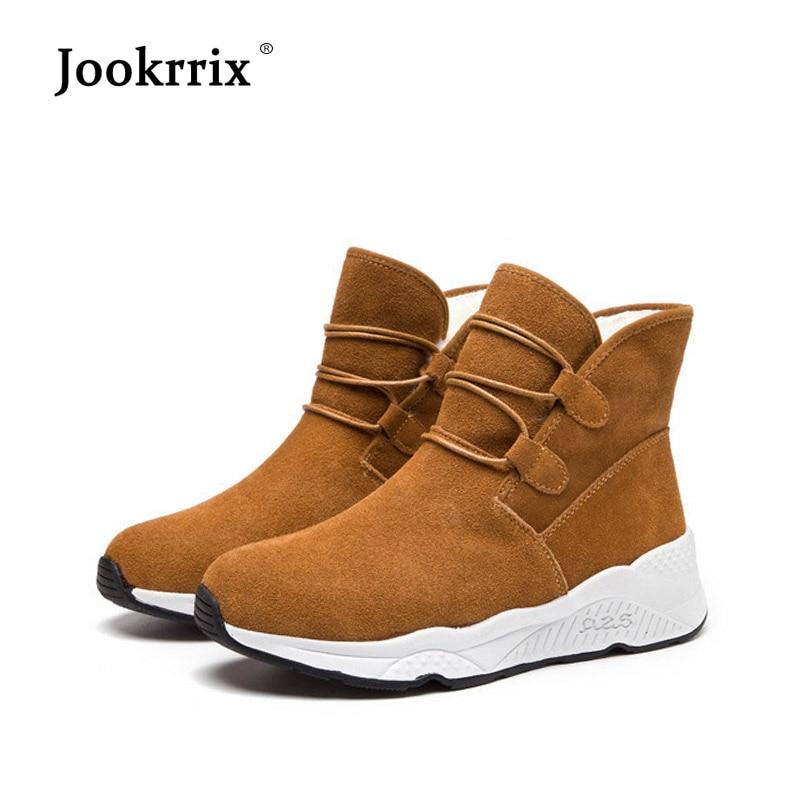 d9ed7211003bd8 Jookrrix 2018 En Cuir Véritable Chaussures Femmes Plate Forme de Marque  Dame Hiver chaussure Femelle Chaud chaussures Noir Fille Cheville Bottes  dans Bottes ...