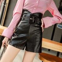 Fashion black PU Leather shorts Women belt high waist shorts 2017 autumn short paperbag bottom