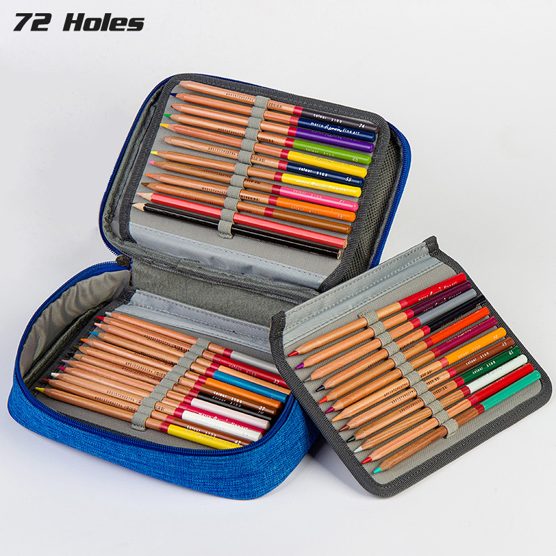 Image 2 - 4 Layers 72 Holes Large Capacity Pencil Case Oxford Zipper Sketch Pencil Bag Handbag Pencil Box School Supplies Art Stationery-in Pencil Cases from Office & School Supplies