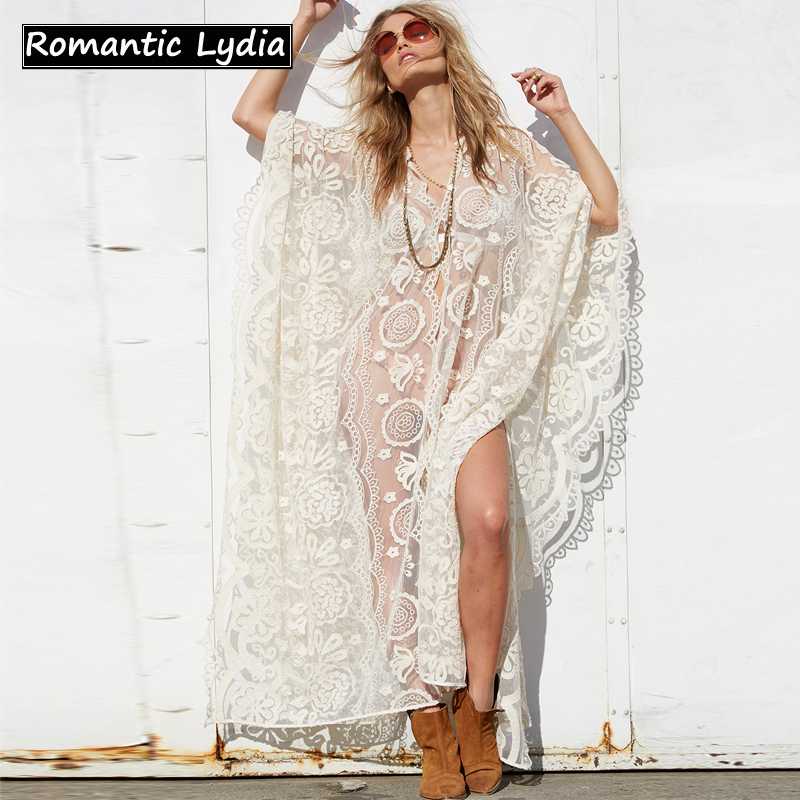 Women Boho Chic Luxurious White Lace Dress Bohemian Floral Sexy Transparent Causal Long Sleeve Dress Vestidos overcoat